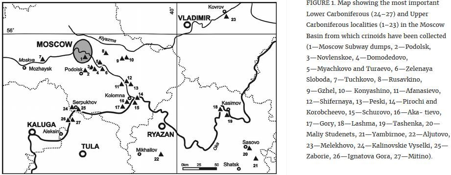Map_Moscow Basin_Crinoid fossil sites